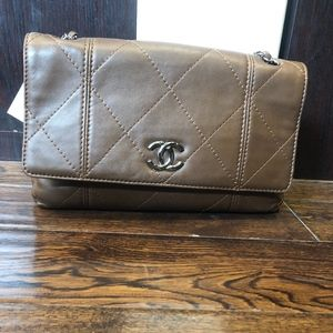 Authentic Chanel hobo brown quilted calfskin